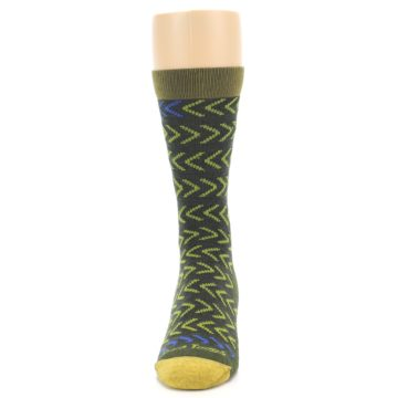 Image of Green Chevron Stripe Wool Men's Socks (front-05)