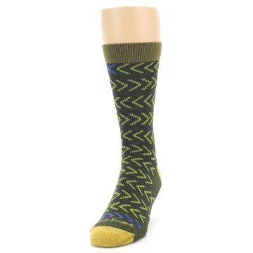 Image of Green Chevron Stripe Wool Men's Socks (side-2-front-06)