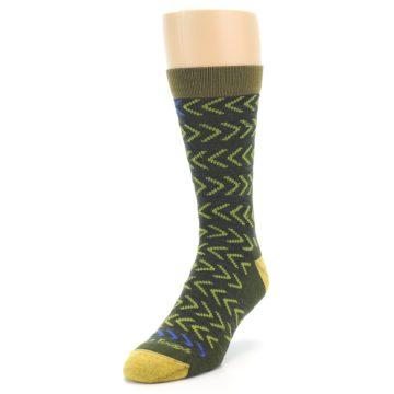Image of Green Chevron Stripe Wool Men's Socks (side-2-front-07)