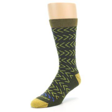 Image of Green Chevron Stripe Wool Men's Socks (side-2-front-08)