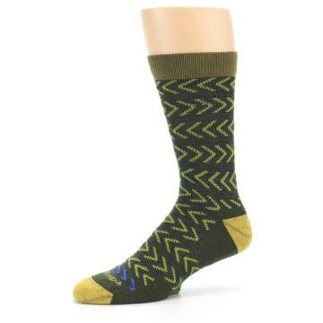 Image of Green Chevron Stripe Wool Men's Socks (side-2-10)