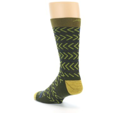 Image of Green Chevron Stripe Wool Men's Socks (side-2-back-15)