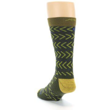 Image of Green Chevron Stripe Wool Men's Socks (side-2-back-16)