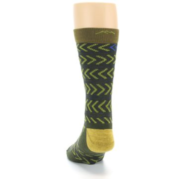Image of Green Chevron Stripe Wool Men's Socks (back-17)