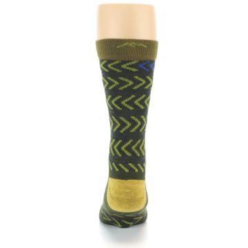 Image of Green Chevron Stripe Wool Men's Socks (back-18)