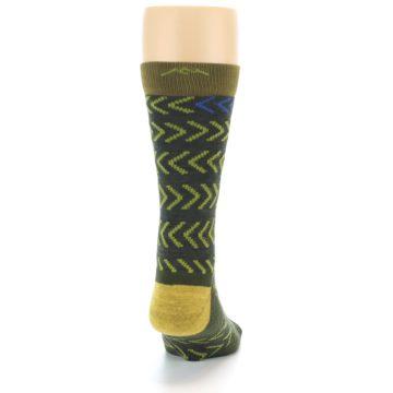 Image of Green Chevron Stripe Wool Men's Socks (back-19)
