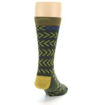Image of Green Chevron Stripe Wool Men's Socks (side-1-back-20)