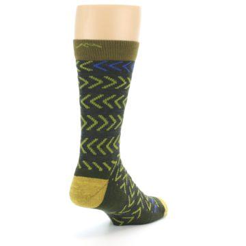 Image of Green Chevron Stripe Wool Men's Socks (side-1-back-21)