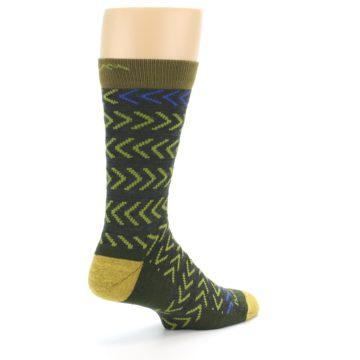 Image of Green Chevron Stripe Wool Men's Socks (side-1-back-22)