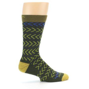 Image of Green Chevron Stripe Wool Men's Socks (side-1-24)