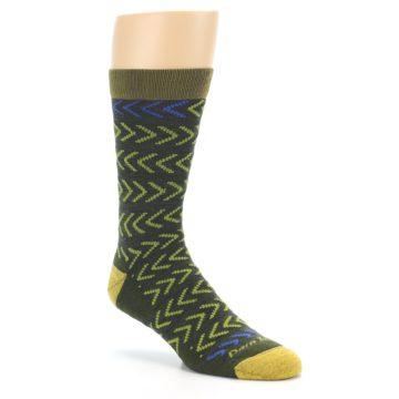 Image of Green Chevron Stripe Wool Men's Socks (side-1-27)