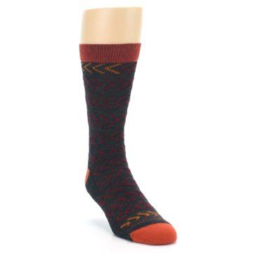 Image of Charcoal Maroon Chevron Stripe Wool Men's Socks (side-1-front-02)