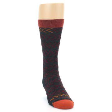 Image of Charcoal Maroon Chevron Stripe Wool Men's Socks (side-1-front-03)