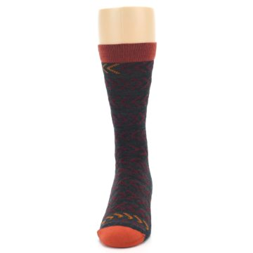 Image of Charcoal Maroon Chevron Stripe Wool Men's Socks (front-05)