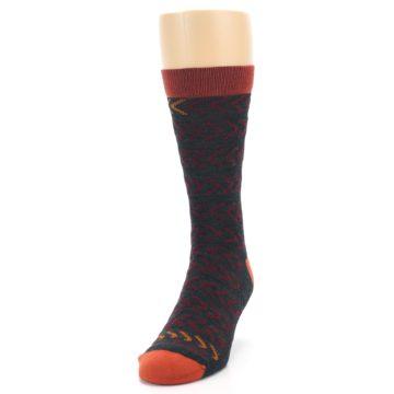 Image of Charcoal Maroon Chevron Stripe Wool Men's Socks (side-2-front-06)