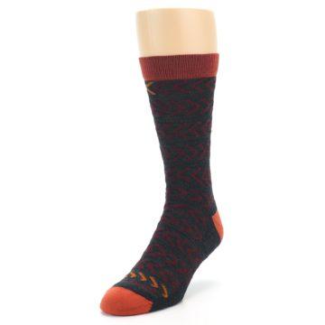 Image of Charcoal Maroon Chevron Stripe Wool Men's Socks (side-2-front-07)