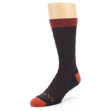 Image of Charcoal Maroon Chevron Stripe Wool Men's Socks (side-2-front-08)