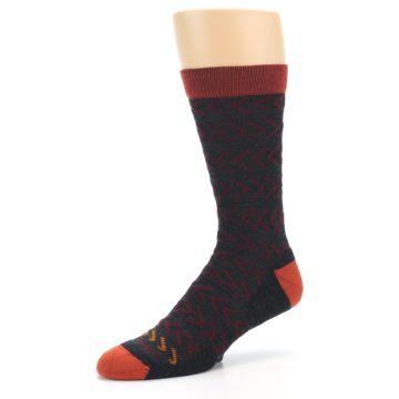 Image of Charcoal Maroon Chevron Stripe Wool Men's Socks (side-2-09)