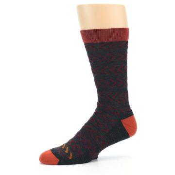 Image of Charcoal Maroon Chevron Stripe Wool Men's Socks (side-2-10)