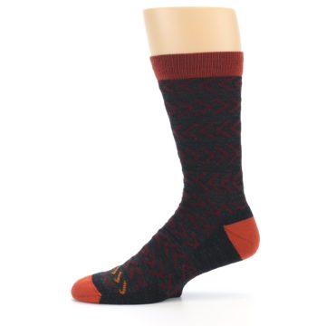 Image of Charcoal Maroon Chevron Stripe Wool Men's Socks (side-2-11)