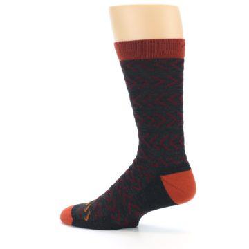 Image of Charcoal Maroon Chevron Stripe Wool Men's Socks (side-2-13)