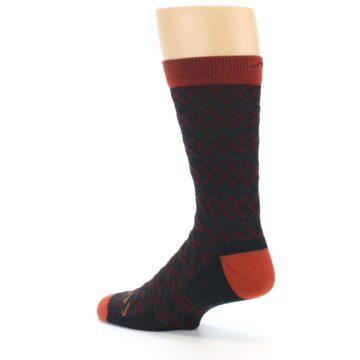 Image of Charcoal Maroon Chevron Stripe Wool Men's Socks (side-2-back-14)