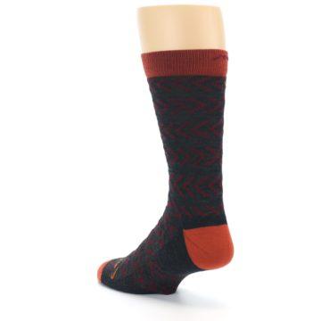 Image of Charcoal Maroon Chevron Stripe Wool Men's Socks (side-2-back-15)