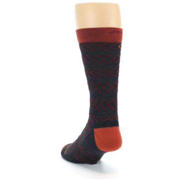 Image of Charcoal Maroon Chevron Stripe Wool Men's Socks (side-2-back-16)