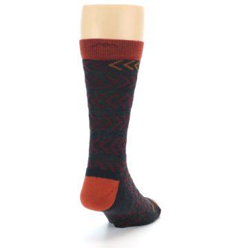 Image of Charcoal Maroon Chevron Stripe Wool Men's Socks (side-1-back-20)