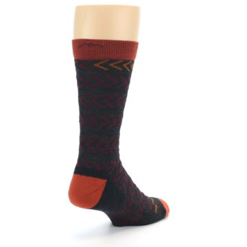 Image of Charcoal Maroon Chevron Stripe Wool Men's Socks (side-1-back-21)