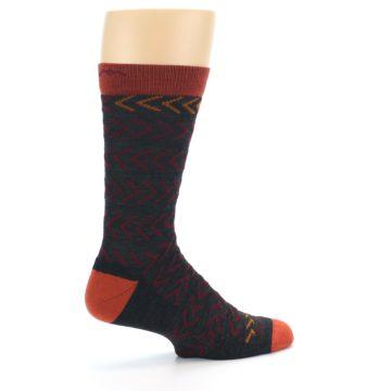 Image of Charcoal Maroon Chevron Stripe Wool Men's Socks (side-1-23)
