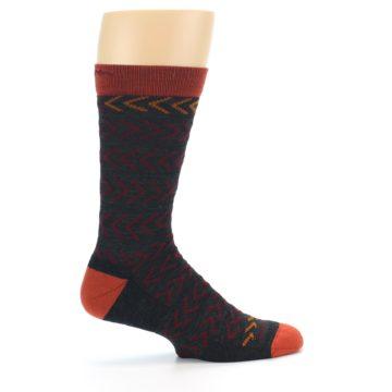 Image of Charcoal Maroon Chevron Stripe Wool Men's Socks (side-1-24)