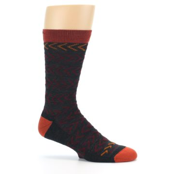 Image of Charcoal Maroon Chevron Stripe Wool Men's Socks (side-1-25)