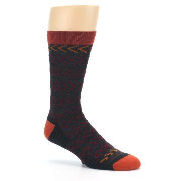Image of Charcoal Maroon Chevron Stripe Wool Men's Socks (side-1-26)