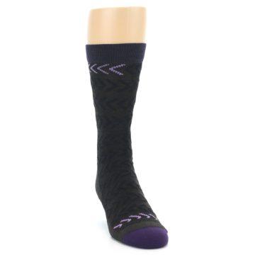 Image of Brown Purple Chevron Stripe Wool Men's Socks (side-1-front-03)