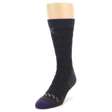 Image of Brown Purple Chevron Stripe Wool Men's Socks (side-2-front-07)