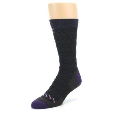 Image of Brown Purple Chevron Stripe Wool Men's Socks (side-2-front-08)