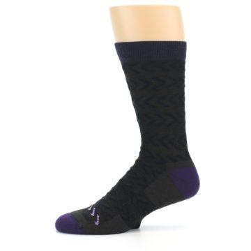 Image of Brown Purple Chevron Stripe Wool Men's Socks (side-2-11)