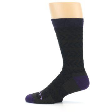 Image of Brown Purple Chevron Stripe Wool Men's Socks (side-2-12)