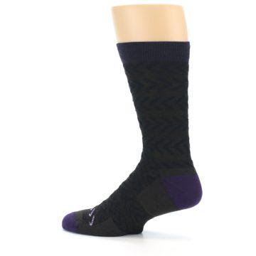 Image of Brown Purple Chevron Stripe Wool Men's Socks (side-2-13)