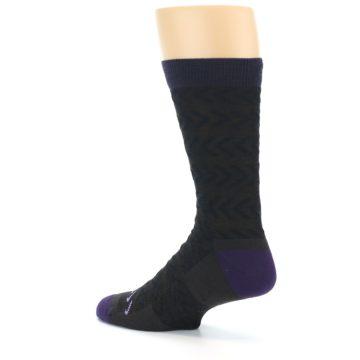 Image of Brown Purple Chevron Stripe Wool Men's Socks (side-2-back-14)