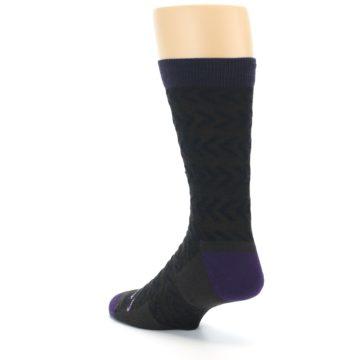 Image of Brown Purple Chevron Stripe Wool Men's Socks (side-2-back-15)