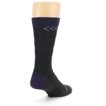 Image of Brown Purple Chevron Stripe Wool Men's Socks (side-1-back-21)