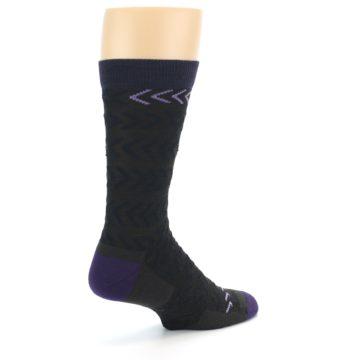 Image of Brown Purple Chevron Stripe Wool Men's Socks (side-1-back-22)