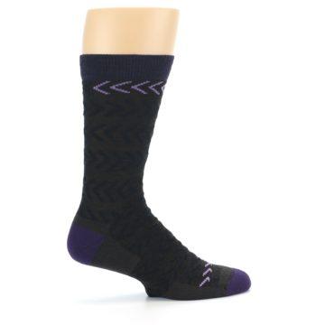 Image of Brown Purple Chevron Stripe Wool Men's Socks (side-1-24)