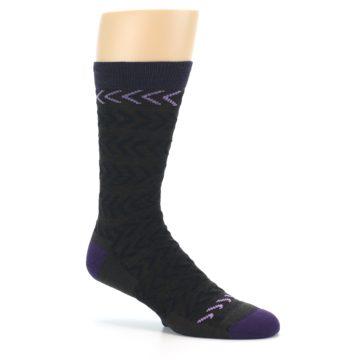 Image of Brown Purple Chevron Stripe Wool Men's Socks (side-1-26)