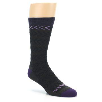Image of Brown Purple Chevron Stripe Wool Men's Socks (side-1-27)