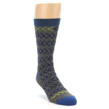 Image of Grey Blue Chevron Stripe Wool Men's Socks (side-1-front-02)