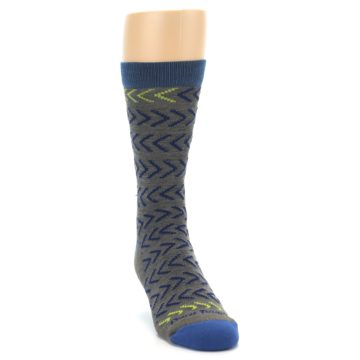 Image of Grey Blue Chevron Stripe Wool Men's Socks (side-1-front-03)