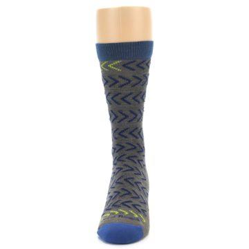 Image of Grey Blue Chevron Stripe Wool Men's Socks (front-05)
